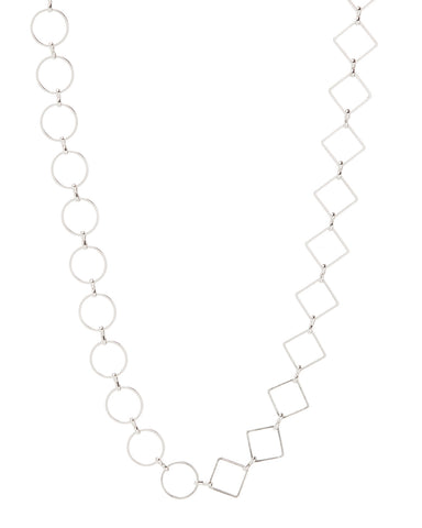 Nour Mixed Chain Necklace- Silver