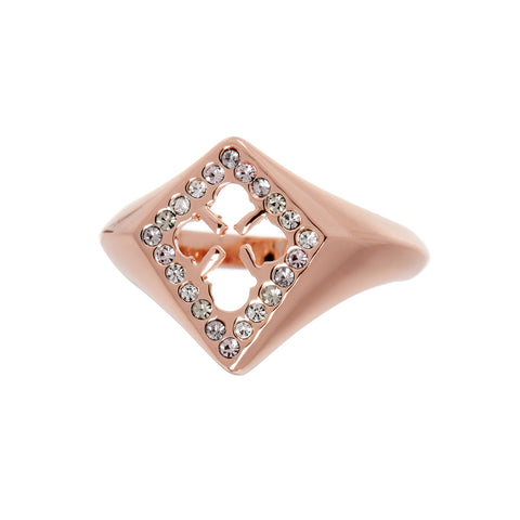 Nouveau Cross Signet Ring- Rose Gold