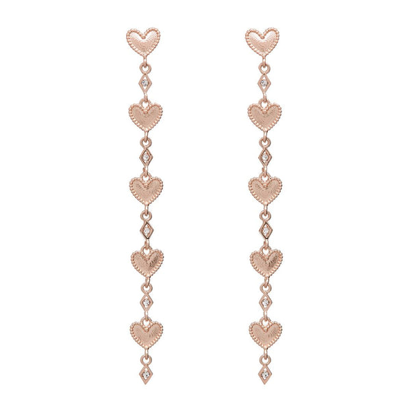 Dotted Heart Drop Studs- Rose Gold