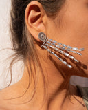 Baguette Drop Statement Earrings- Silver