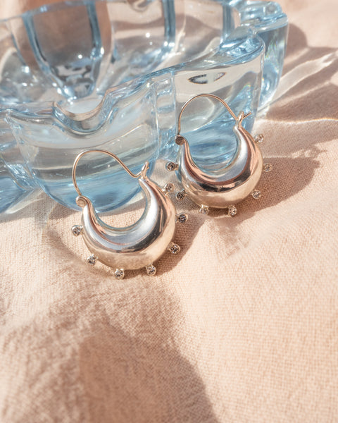 Studded Mini Martina Hoops- Silver