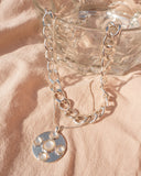 Mother of Pearl Coin Necklace Set- Silver