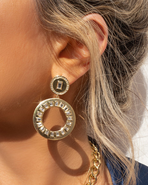 Circle Baguette Statement Earrings- Gold