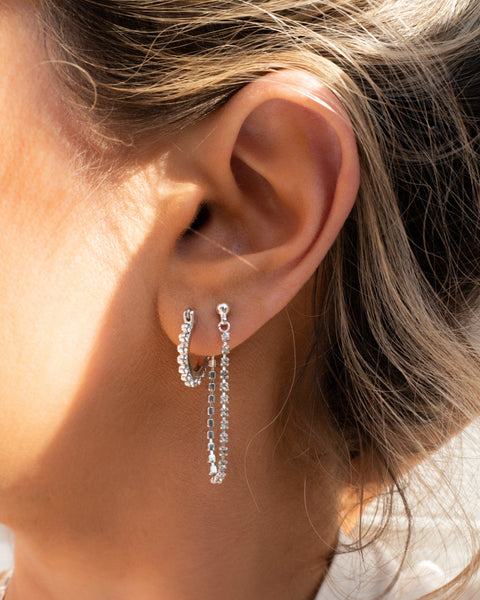 Diamonte Hoops + Chain Stud Set- Gold