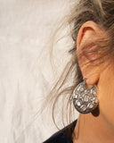 Mother of Pearl Mosaic Hoops- Silver