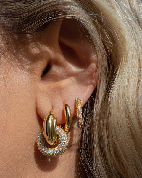 Pave Interlock Hoops- Gold (Ships Early June)