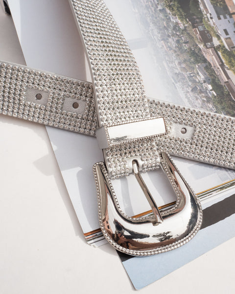 Diamond Rodeo Belt- Silver