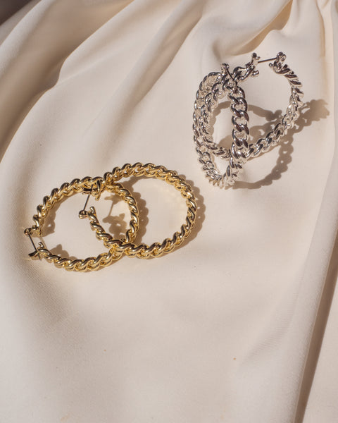 Cuban Link Hoops- Gold (Ships Mid October)