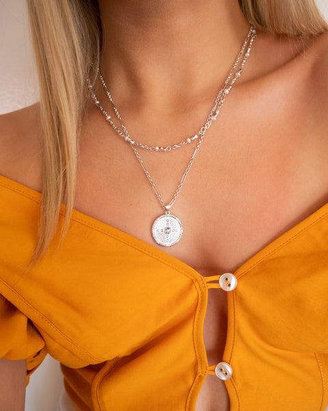 Pearl Infinity Necklace- Silver