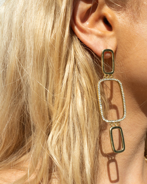 Blair Chain Statement Earrings- Gold
