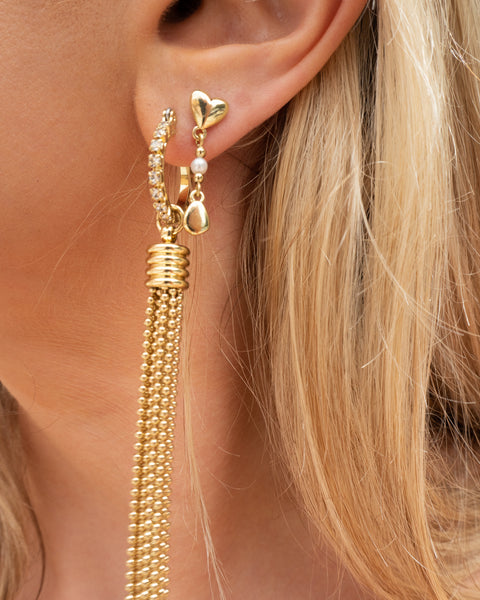 Hammered Heart + Pearl Studs- Gold