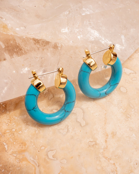 Stone Baby Amalfi Hoops- Turquoise (Ships Immediately)