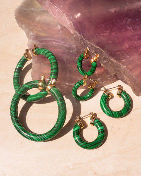Stone Baby Amalfi Hoops- Malachite (Ships Immediately)