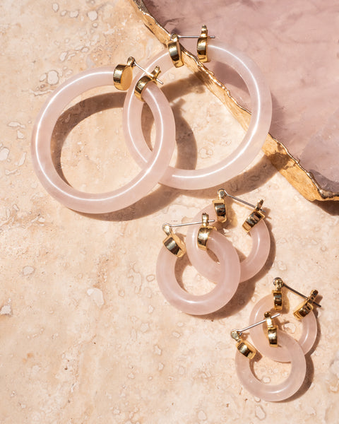 Stone Baby Amalfi Hoops- Rose Quartz (Ships Immediately)