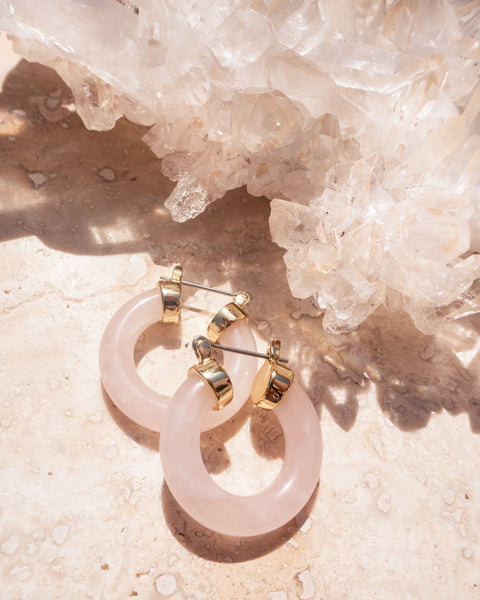 Stone Baby Amalfi Hoops- Rose Quartz