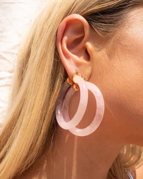 Stone Amalfi Hoops- Rose Quartz