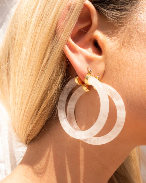 Stone Amalfi Hoops- Clear Quartz