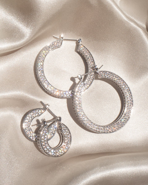 Pave Baby Celine Hoops- Silver