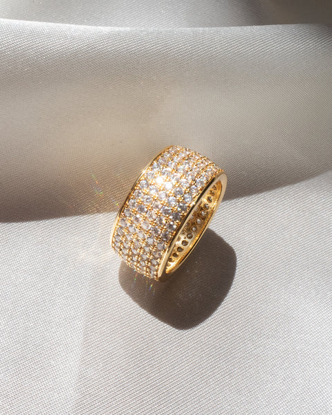 Pave Cigar Ring- Gold
