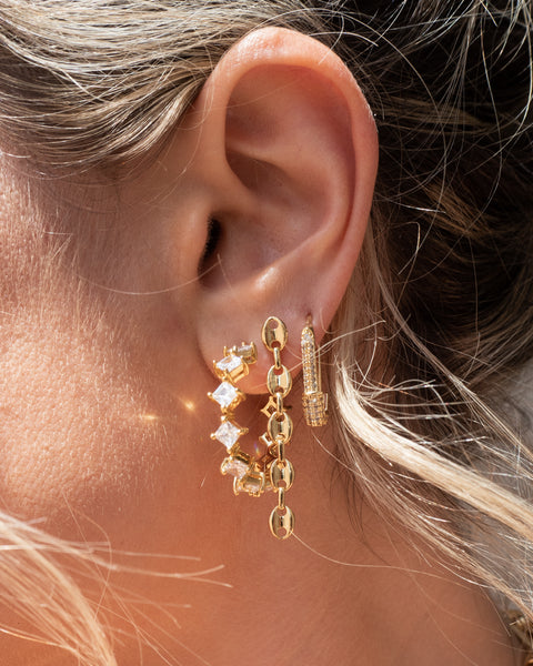 Pave Hex Safety Pin Earrings- Gold (Ships Late December)