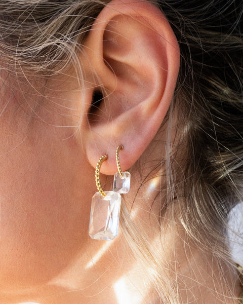 Crystalline Hoops- Gold (Ships Late April)