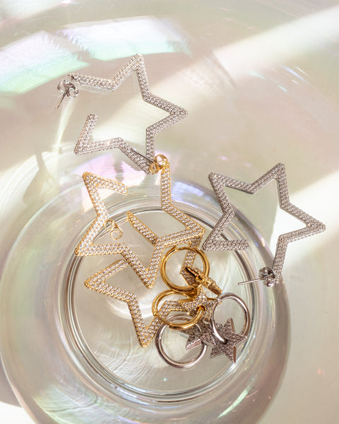 Pave Star Charm Hoops- Gold