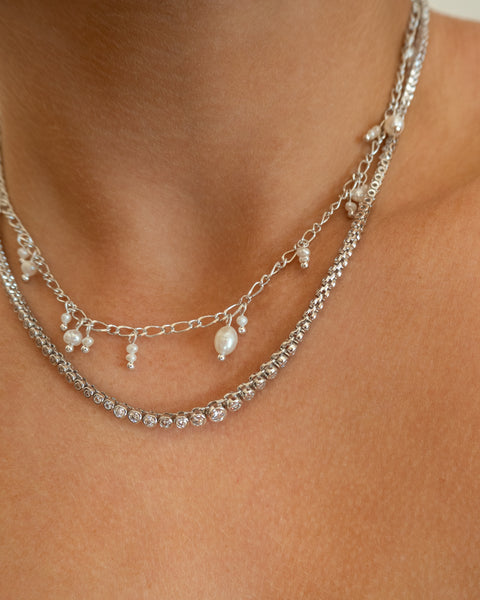 Ballier Bezel Tennis Necklace- Silver