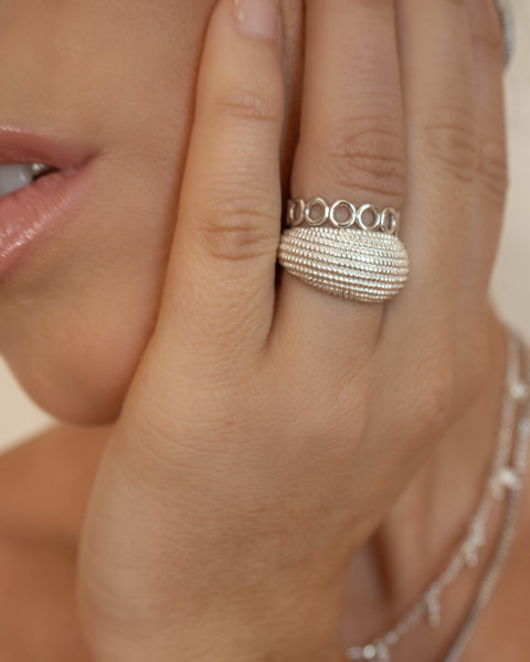 Beaded Dome Ring- Silver