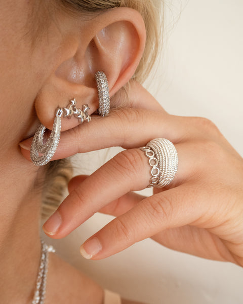 Pave Amalfi Ear Cuff- Silver (Ships Mid April)