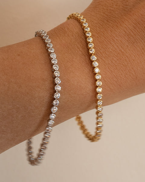 Ballier Bezel Tennis Bracelet- Gold (Ships Late March)