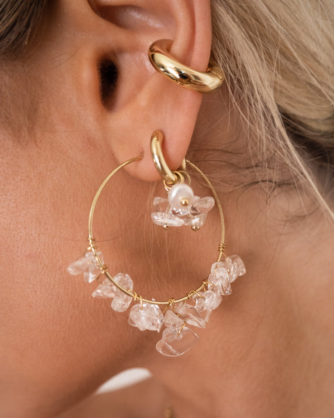 Rock Candy Wire Hoops- Silver