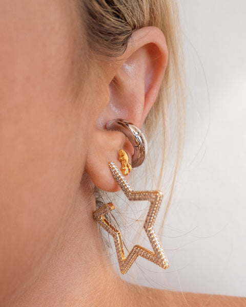 Pave Star Hoops- Silver