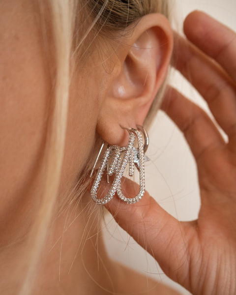 Pave Paper Clip Earrings- Silver (Ships Early May)