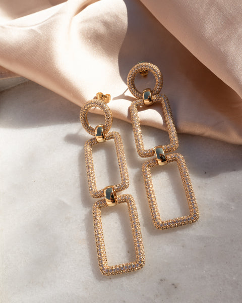 Pave Chain Link Earrings- Silver