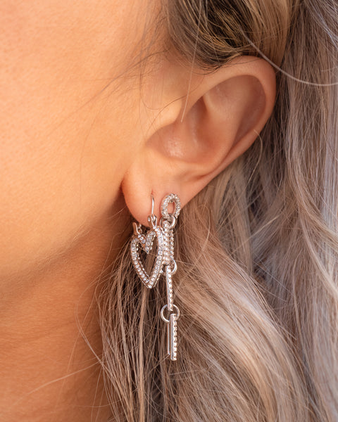 Pave Mini Heartbreaker Hoops- Silver