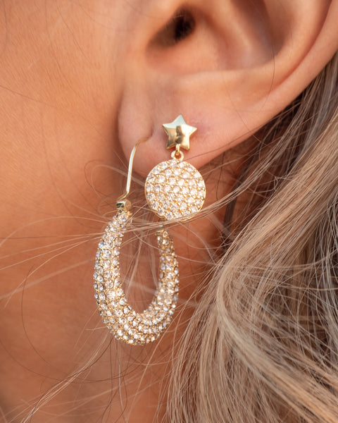 Pave Disc Star Studs- Gold