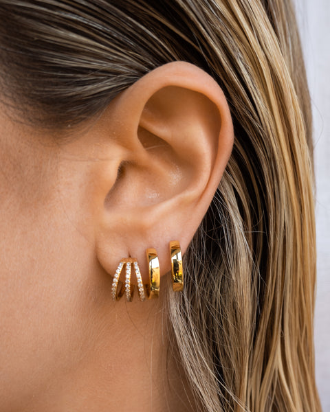 Pave Baby Bastille Hoops- Silver (Ships Mid May)