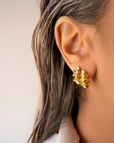 Mini Dahlia Hoops- Gold (Ships Mid July)
