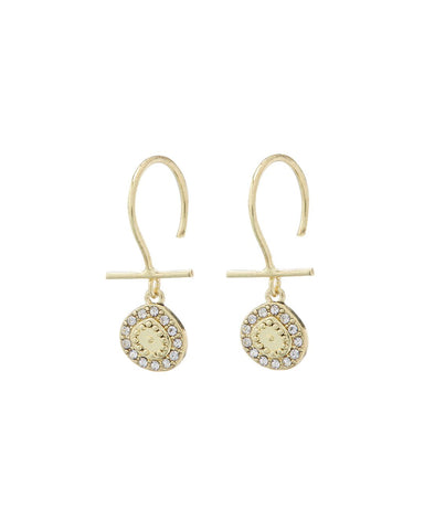 Mini Pave Coin Hook Earrings- Gold