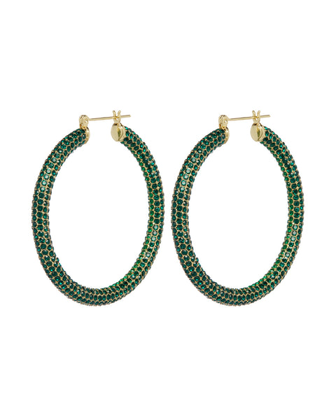 Pave Amalfi Hoops- Gold- Emerald
