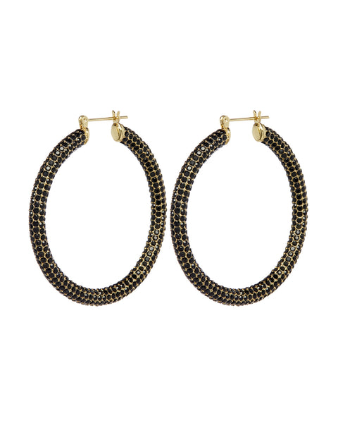 Pave Amalfi Hoops- Gold- Jet
