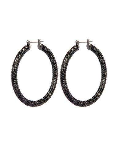 Pave Amalfi Hoops- Gunmetal- Jet (Ships Early January)