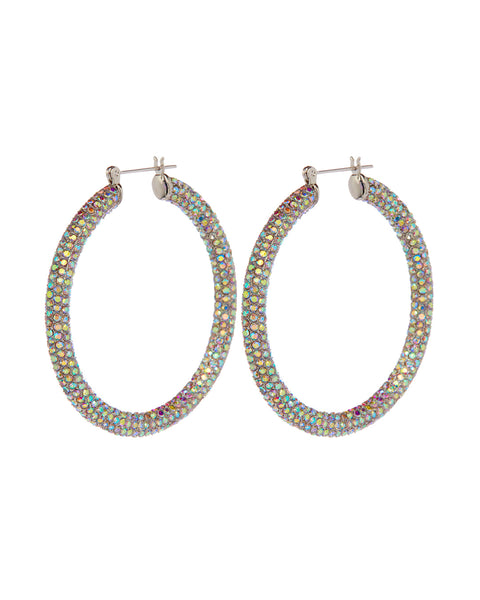 Pave Amalfi Hoops- Silver- Rainbow Crystal (Ships Mid March)