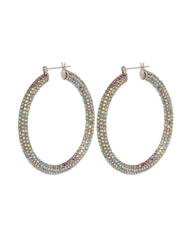Pave Amalfi Hoops- Silver- Rainbow Crystal (Ships Mid January)