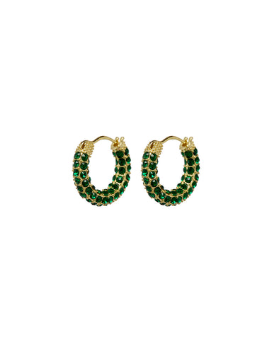 Pave Amalfi Huggies- Gold- Emerald (Ships Early April)