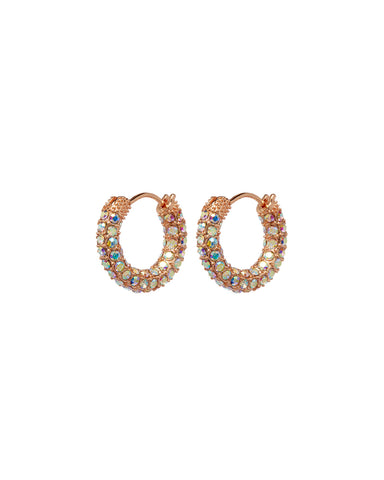 Pave Amalfi Huggies- Rose Gold- Rainbow Crystal