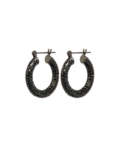Pave Baby Amalfi Hoops- Gunmetal- Jet (Ships Late January)