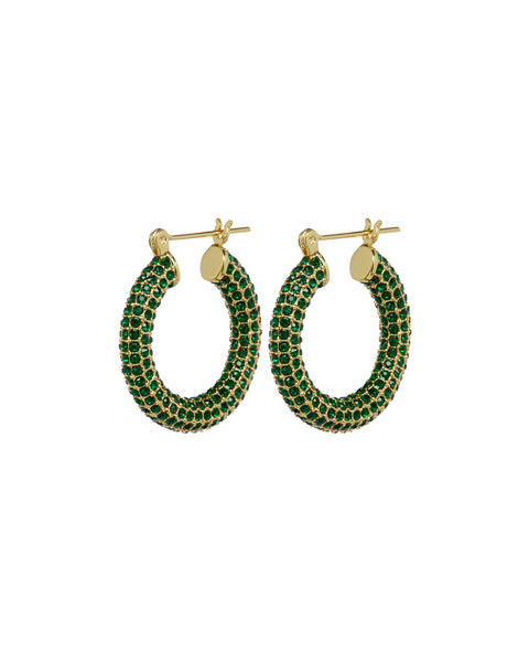 Pave Baby Amalfi Hoops- Gold- Emerald (Ships Mid January)