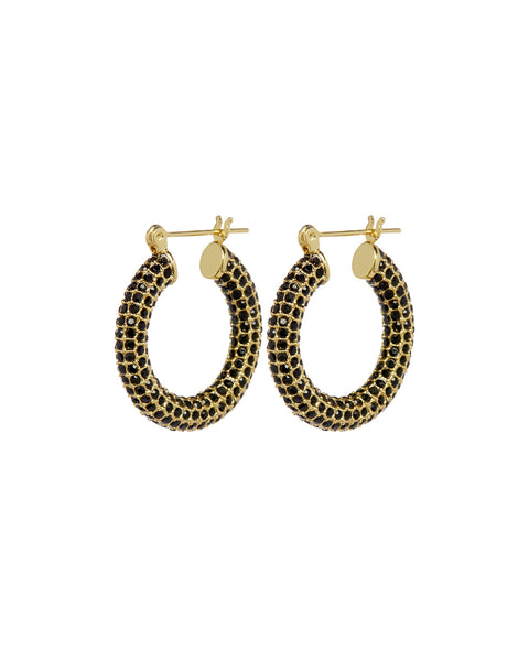 Pave Baby Amalfi Hoops- Gold- Jet