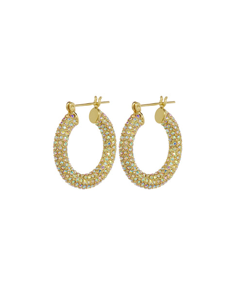 Pave Baby Amalfi Hoops- Gold- Rainbow Crystal (Ships Early April)